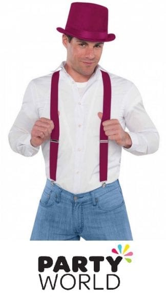 Burgundy Coloured Mens Suspenders