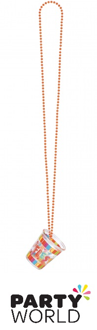 Fiesta Party Bead Chain Necklace With Shot Glass