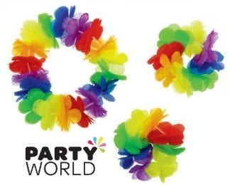 Flower Lei Rainbow Headband And Wristlets (3pcs)