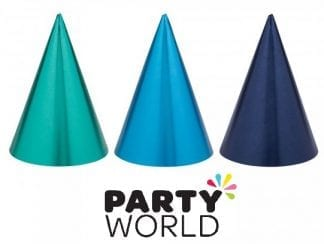 Foil Party Cone Hats Blue Assorted (12)
