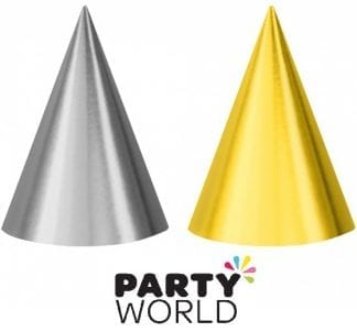 Foil Party Cone Hats Gold And Silver (12)