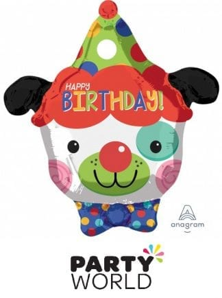 Happy Birthday Clown Dog Party Foil Balloon