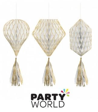 Honeycomb Mini Gold And White Hanging Decorations