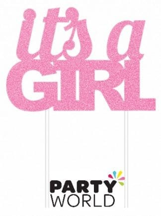 It's A Girl Pink Glittered Cake Topper