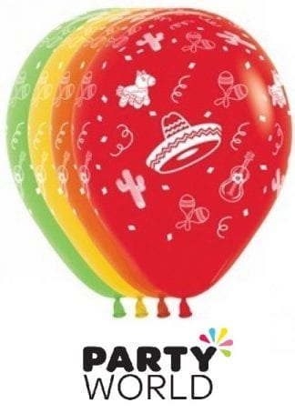 Mexican Fiesta Party Assorted 30cm Latex Balloons (12)