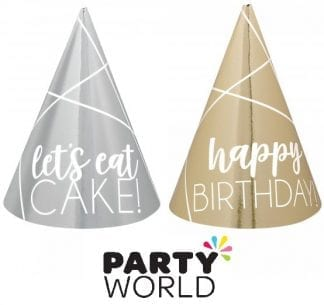 Mini Foil Party Cone Hats Gold And Silver (12)