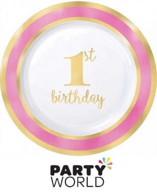 Pink And Gold 1st Birthday Plastic Plates 7.5in (10pk)