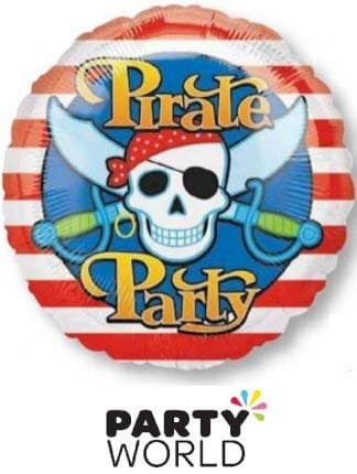 Pirate Party Skull And Swords Round Foil Balloon