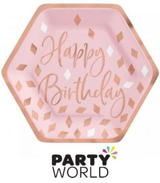 Rose Gold And Blush Pink Birthday Paper Plates 7in (8)