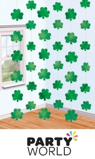 St Patrick's Day Shamrock String Decorations (6)