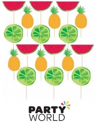 Summer Fruits Foil Stamped Picks Assorted (24)