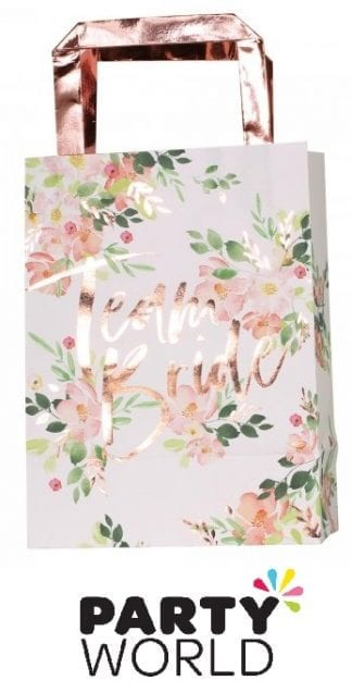 Team Bride Floral Rose Gold Foiled Party Bags (5)
