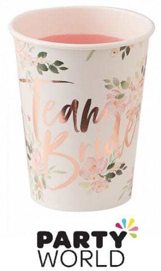 Team Bride Floral Rose Gold Foiled Party Cups (8)