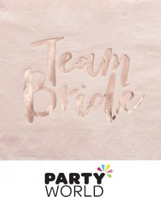 Team Bride Rose Gold Foil On Peach Luncheon Napkins (20)