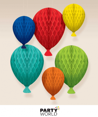 colourful balloon honeycomb decorations