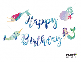 happy birthday banner mermaid themed party
