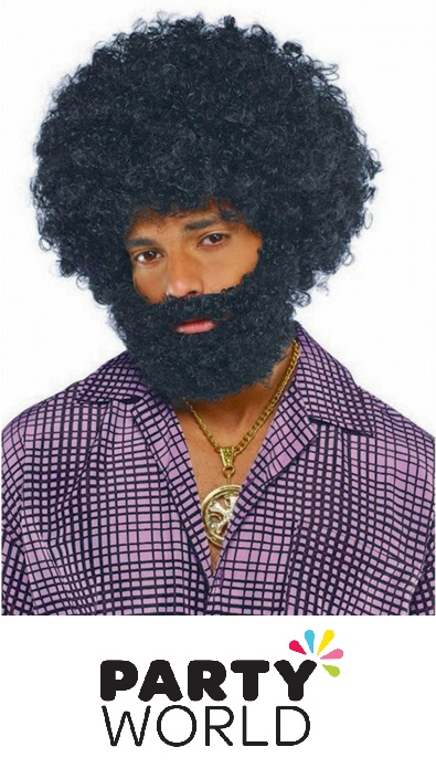 Black Afro Beard And Moustache