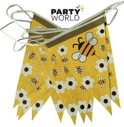 Bumble Bee Baby Shower Party Flag Banner