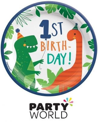 Dino Mite Party 1st Birthday Round 7in Paper Plates (8)