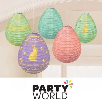 Easter Mini Eggs Paper Lanterns Gold Hot Stamped (5)