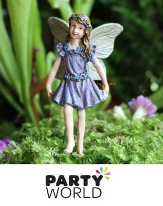 Fairy Garden Party Miniature Resin Figure Cake Topper Purple Dress