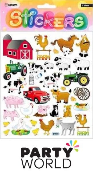 Farmyard Party Barn Equipment and Animals Stickers