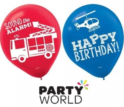 First Responders Party Assorted Latex Balloons (6)