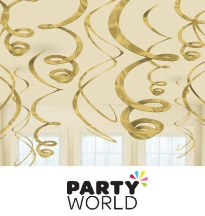 Gold Party Hanging Foil Swirls (12pk)
