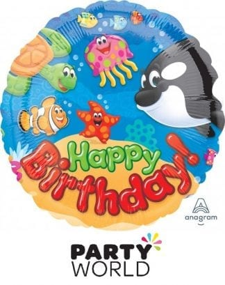 Happy Birthday Sea Buddies Party Foil Balloon