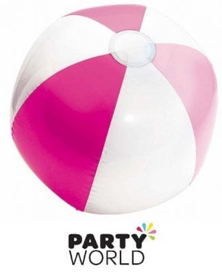 Inflatable Beach Ball Pink And White 33cm