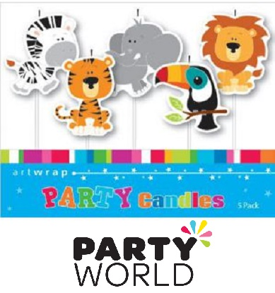 Jungle Animals Party Assorted Candles (5pk)