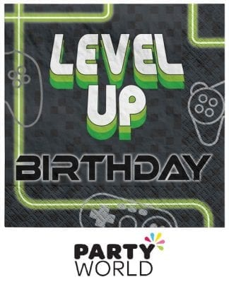 Level Up Gaming Birthday Luncheon Paper Napkins (16)