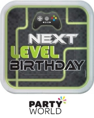 Level Up Gaming Birthday Square 9in Paper Plates (8)