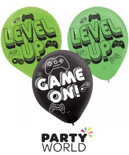Level Up Gaming Party Assorted Latex 30cm Balloons (6)