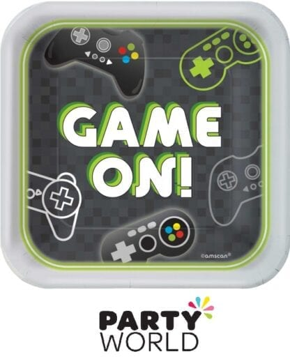 Level Up Gaming Party Square 7in Paper Plates (8)