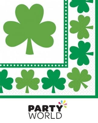 Lucky Shamrocks Beverage Napkins (16)