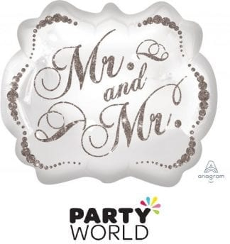 Mr and Mr Sparling Silver Supershape Foil Balloon