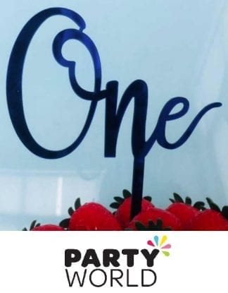 One Acrylic Cake Topper - Blue