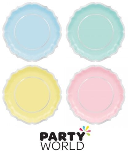 Pretty Pastels Party Assorted Colour 10.5in Plates (8)
