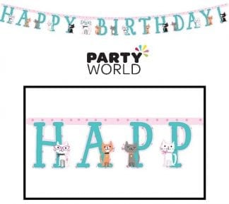 Purrfect Party Happy Birthday Jointed Banner