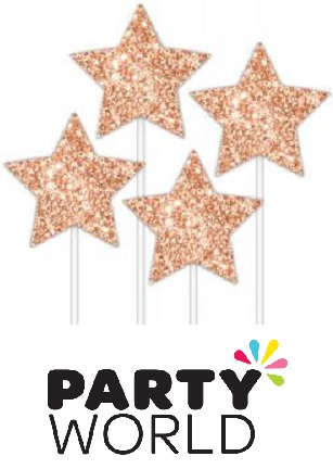 Rose Gold Glitter Star Pick Toppers (4pk)