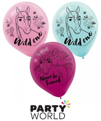 Spirit Riding Free Horse Party 30cm Latex Assorted Colour Balloons (6)