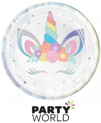 Unicorn Party Round Paper Plates 7inch (8pk)