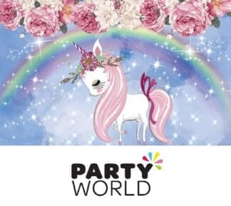 Unicorn Rainbow Flowers Vinyl Cloth Party Backdrop 100 x 150 cm