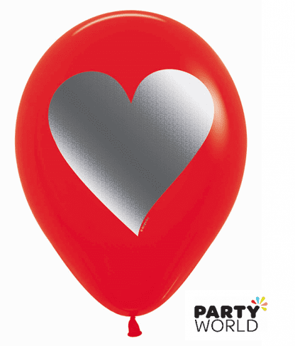 red heart latex balloons