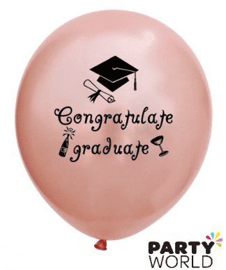 rose gold graduation balloons