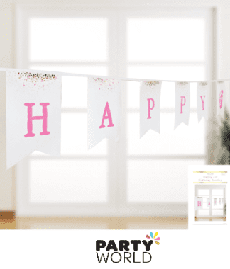 1st birthday pink gold bunting
