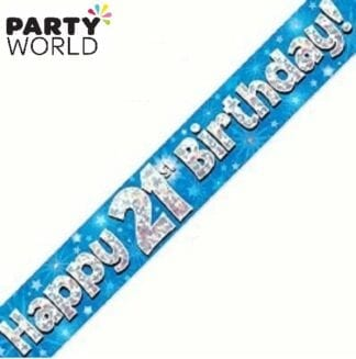21st birthday banner blue