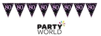 80th Birthday Celebration Pink Prismatic Pennant Banner