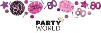 80th Birthday Pink Celebration Confetti 34g